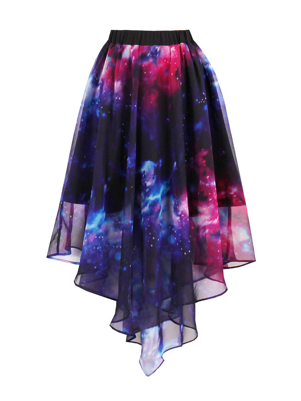 Starry Sky Print Chiffon Handkerchief SkirtWOMEN<br><br>Size: 2XL; Color: BLUE; Material: Polyester; Fabric Type: Chiffon; Length: Mid-Calf; Silhouette: Asymmetrical; Pattern Type: Galaxy,Print; Season: Fall,Spring,Summer; With Belt: No; Weight: 0.2800kg; Package Contents: 1 x Skirt;