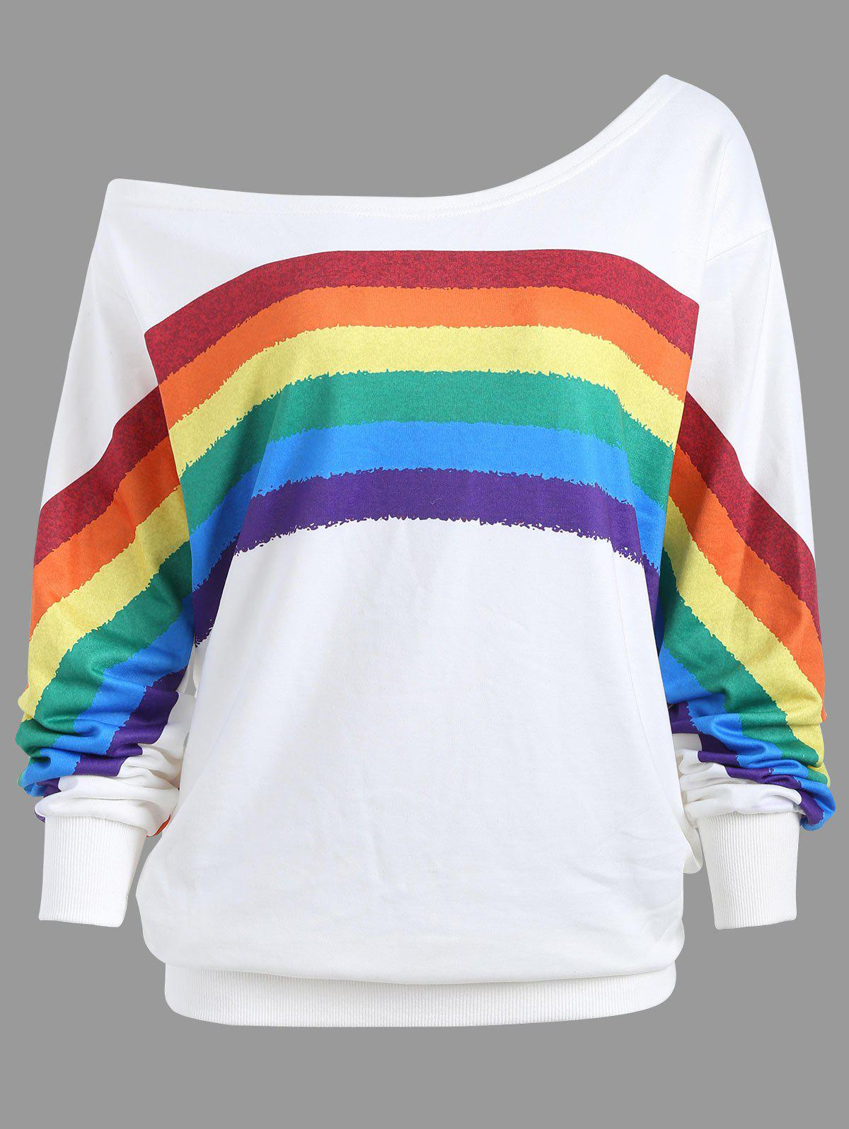 Print Rainbow Plus Size One Shoulder TopWOMEN<br><br>Size: 2XL; Color: WHITE; Material: Polyester; Shirt Length: Regular; Sleeve Length: Full; Style: Fashion; Pattern Style: Print; Season: Fall,Spring; Weight: 0.4200kg; Package Contents: 1 x Top;