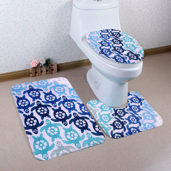 Discount Cartoon Tortoise Pattern 3 Pcs Bath Mat Toilet Mat