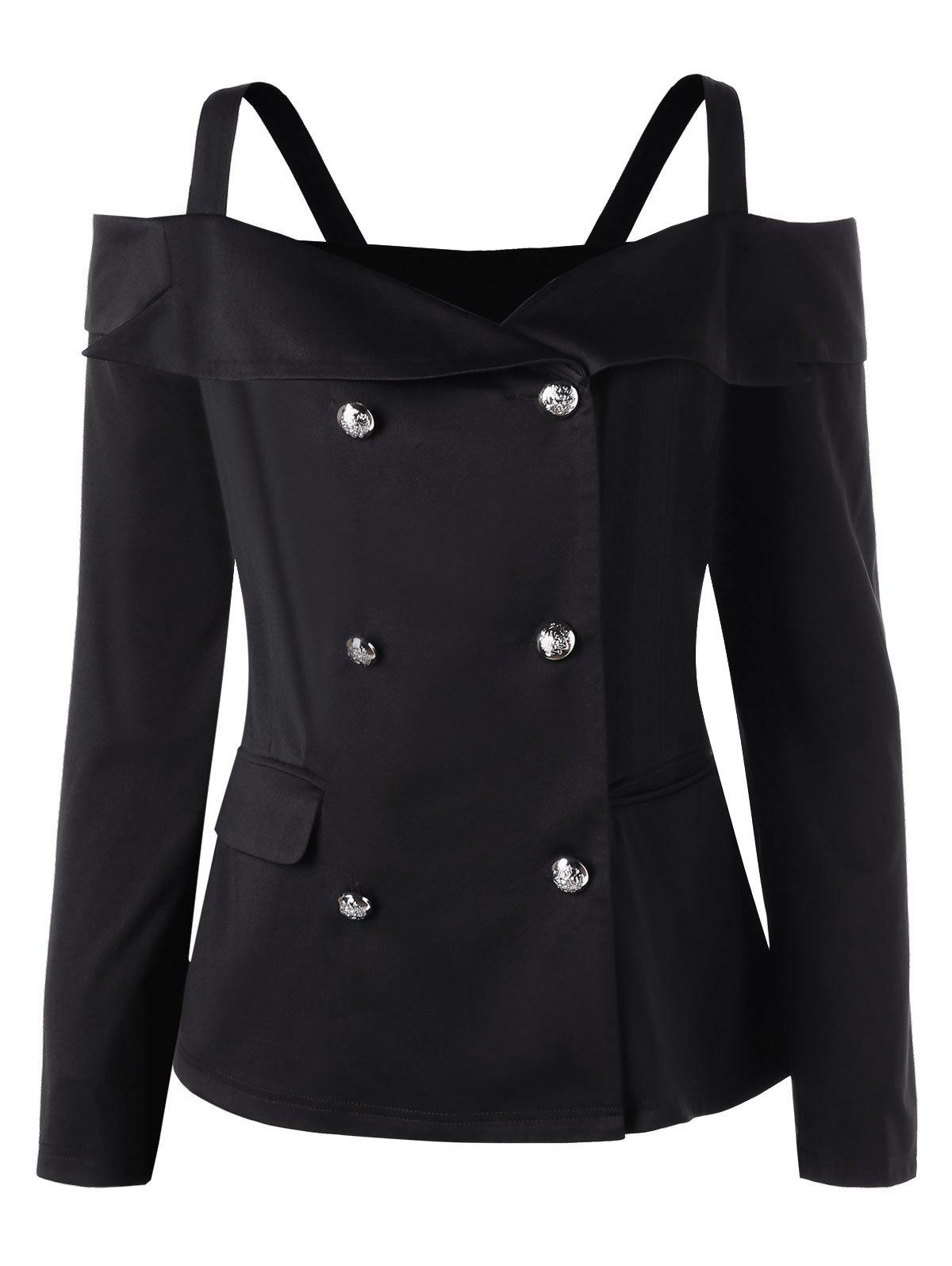 Plus Size Long Sleeve Double Breasted Cold Shoulder TopWOMEN<br><br>Size: 5XL; Color: BLACK; Clothes Type: Jackets; Material: Cotton,Polyester; Type: Slim; Shirt Length: Short; Sleeve Length: Full; Collar: Spaghetti Strap; Closure Type: Double Breasted; Pattern Type: Solid; Style: Fashion; Season: Fall,Spring; With Belt: No; Weight: 0.4000kg; Package Contents: 1 x Top;