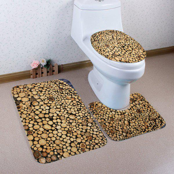 Shop Firewood Pattern 3 Pcs Bath Mat Toilet Mat