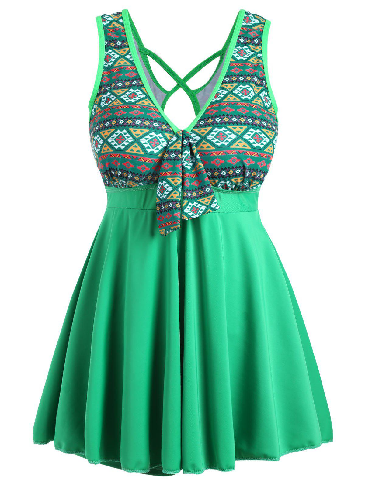 Plus Size Cross Back Skirted One Piece SwimsuitWOMEN<br><br>Size: 4XL; Color: GREEN; Gender: For Women; Swimwear Type: One Piece; Material: Polyester,Spandex; Bra Style: Padded; Support Type: Wire Free; Pattern Type: Geometric; Embellishment: Criss-Cross,Hollow Out; Waist: Natural; Elasticity: Micro-elastic; Weight: 0.3500kg; Package Contents: 1 x Swimsuit;