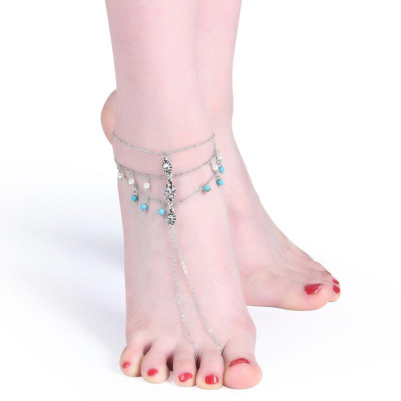 Store Rhinestone Faux Pearl Turquoise Slave Anklet