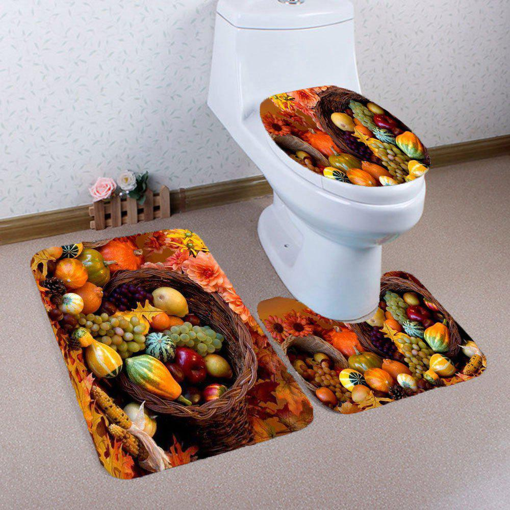 Discount Nonslip Fruits Pattern 3Pcs Bathroom Mats Set