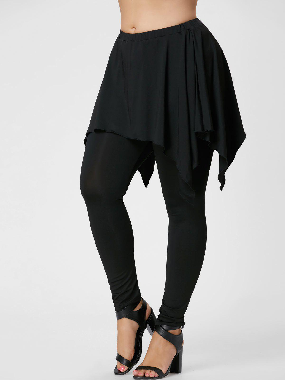 Plus Size Handerchief Skirt LenggingsWOMEN<br><br>Size: 3XL; Color: BLACK; Style: Active; Length: Normal; Material: Polyester,Spandex; Fit Type: Skinny; Waist Type: Mid; Closure Type: Elastic Waist; Pattern Type: Solid; Pant Style: Pencil Pants; Weight: 0.3600kg; Package Contents: 1 x Pants;