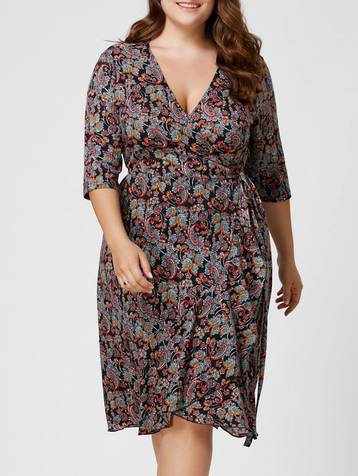 Plus Size Paisley Overlap Wrap DressWOMEN<br><br>Size: 3XL; Color: COLORMIX; Style: Bohemian; Material: Polyester; Silhouette: A-Line; Dresses Length: Knee-Length; Neckline: V-Neck; Sleeve Length: 3/4 Length Sleeves; Pattern Type: Paisley; With Belt: No; Season: Fall,Spring,Summer; Weight: 0.3100kg; Package Contents: 1 x Dress;