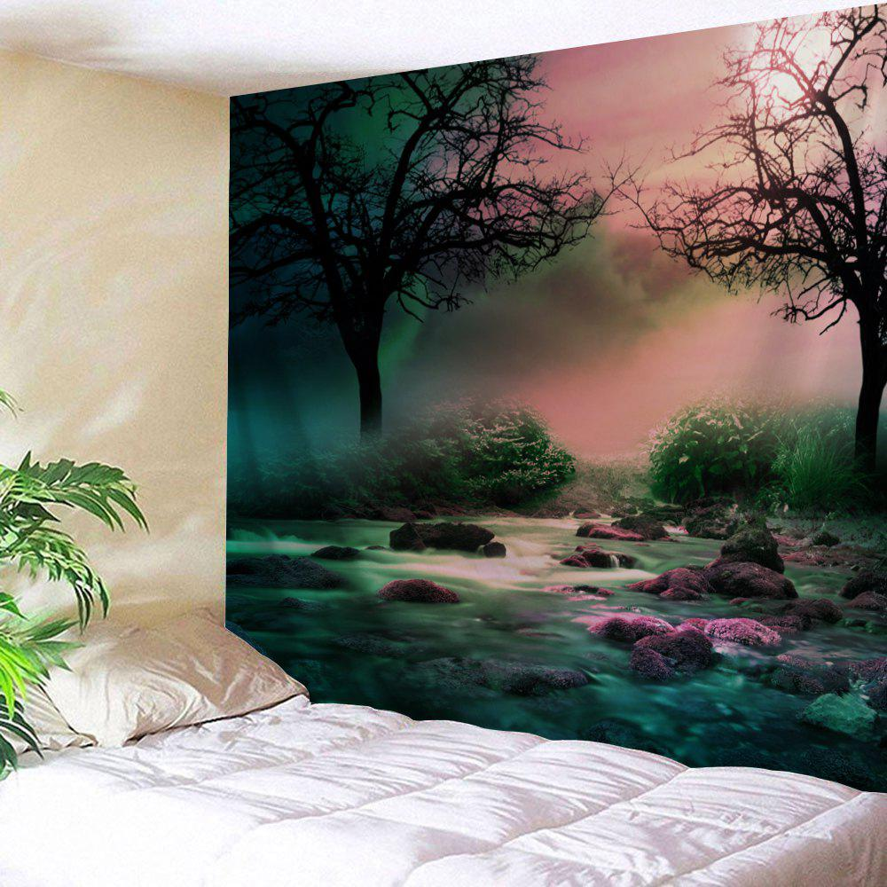 Trees Streams Print Tapestry Wall Hanging Art DecorationHOME<br><br>Size: W91 INCH * L71 INCH; Color: COLORMIX; Style: Natural; Theme: Landscape; Material: Polyester; Feature: Washable; Shape/Pattern: Plant; Weight: 0.4000kg; Package Contents: 1 x Tapestry;