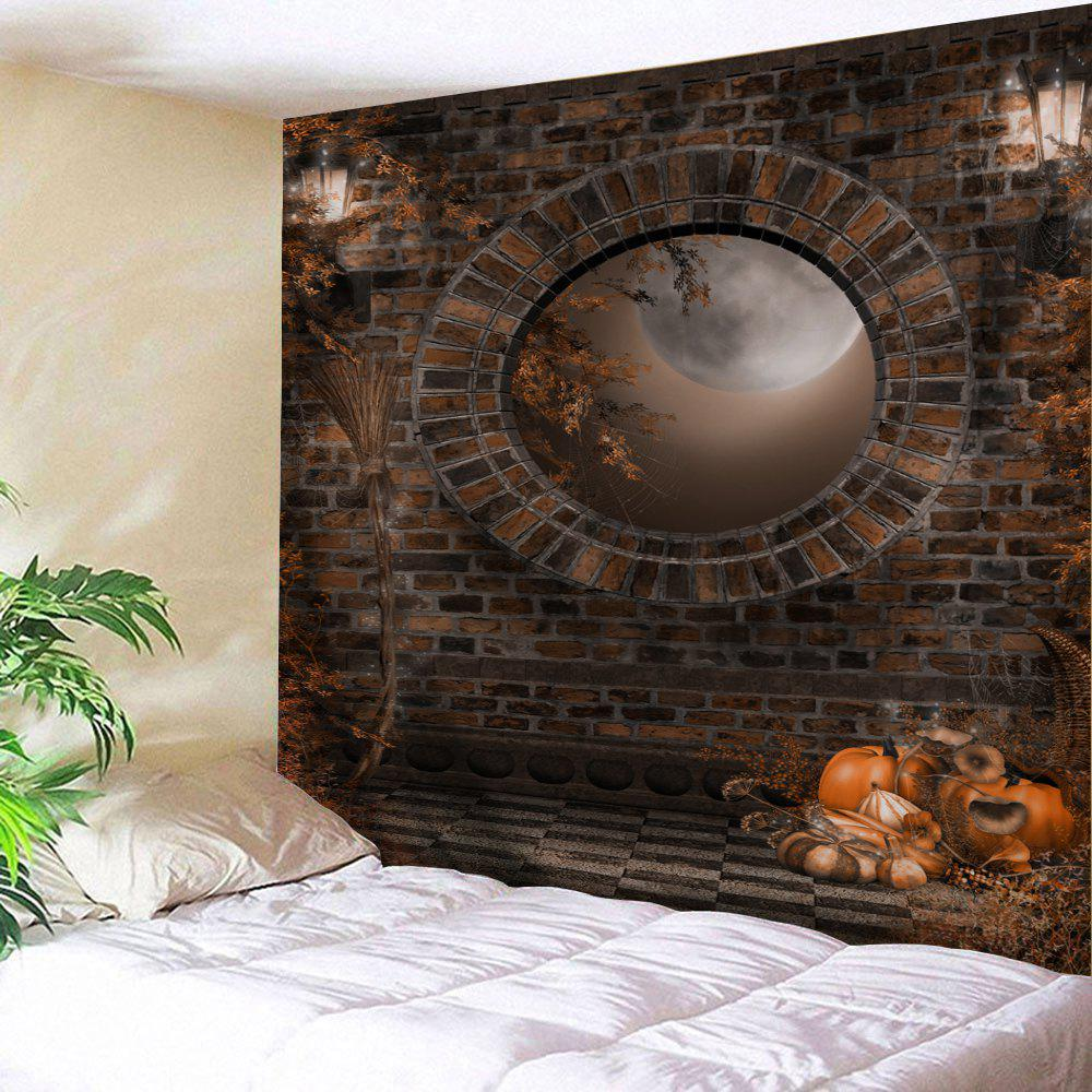 Halloween Brick Wall Print Tapestry Wall Hanging Art DecorationHOME<br><br>Size: W79 INCH * L71 INCH; Color: BROWN; Style: Vintage; Theme: Halloween; Material: Polyester; Feature: Washable; Shape/Pattern: Moon,Plant,Wall; Weight: 0.3200kg; Package Contents: 1 x Tapestry;
