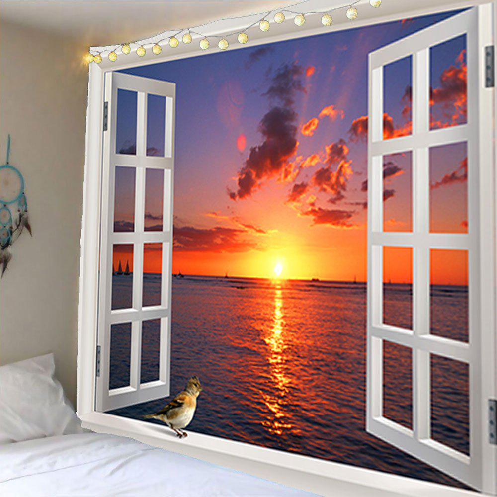 Window Sunset Bird Waterproof Wall TapestryHOME<br><br>Size: W79 INCH * L71 INCH; Color: COLORFUL; Style: Natural; Theme: Landscape; Material: Velvet; Feature: Removable,Waterproof; Shape/Pattern: Animal,Water,Window; Weight: 0.3800kg; Package Contents: 1 x Tapestry;