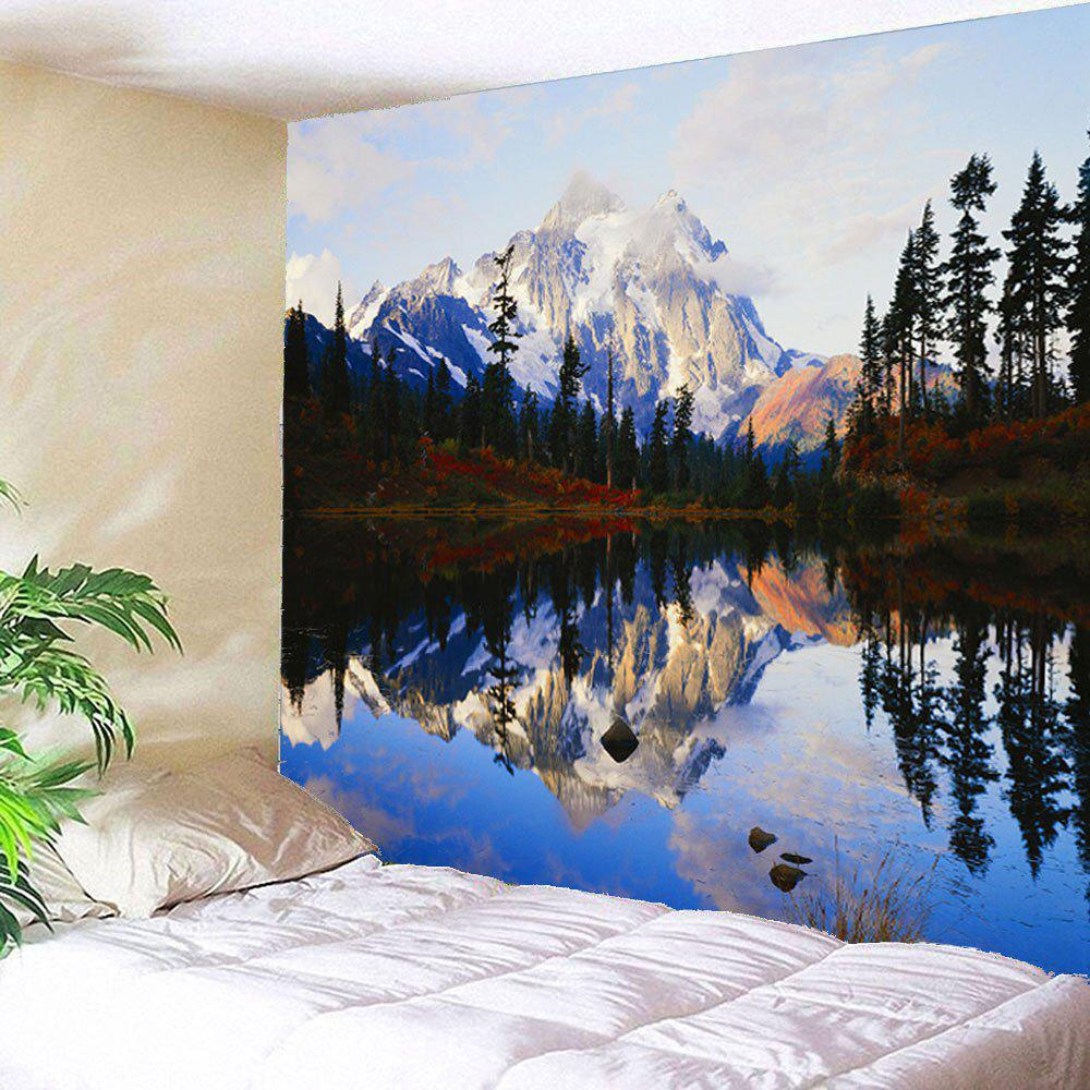 Lakeside Forest Mountains Waterproof Hanging TapestryHOME<br><br>Size: W79 INCH * L71 INCH; Color: COLORFUL; Style: Natural; Theme: Landscape; Material: Velvet; Feature: Removable,Waterproof; Shape/Pattern: Forest,Mountain; Weight: 0.3800kg; Package Contents: 1 x Tapestry;