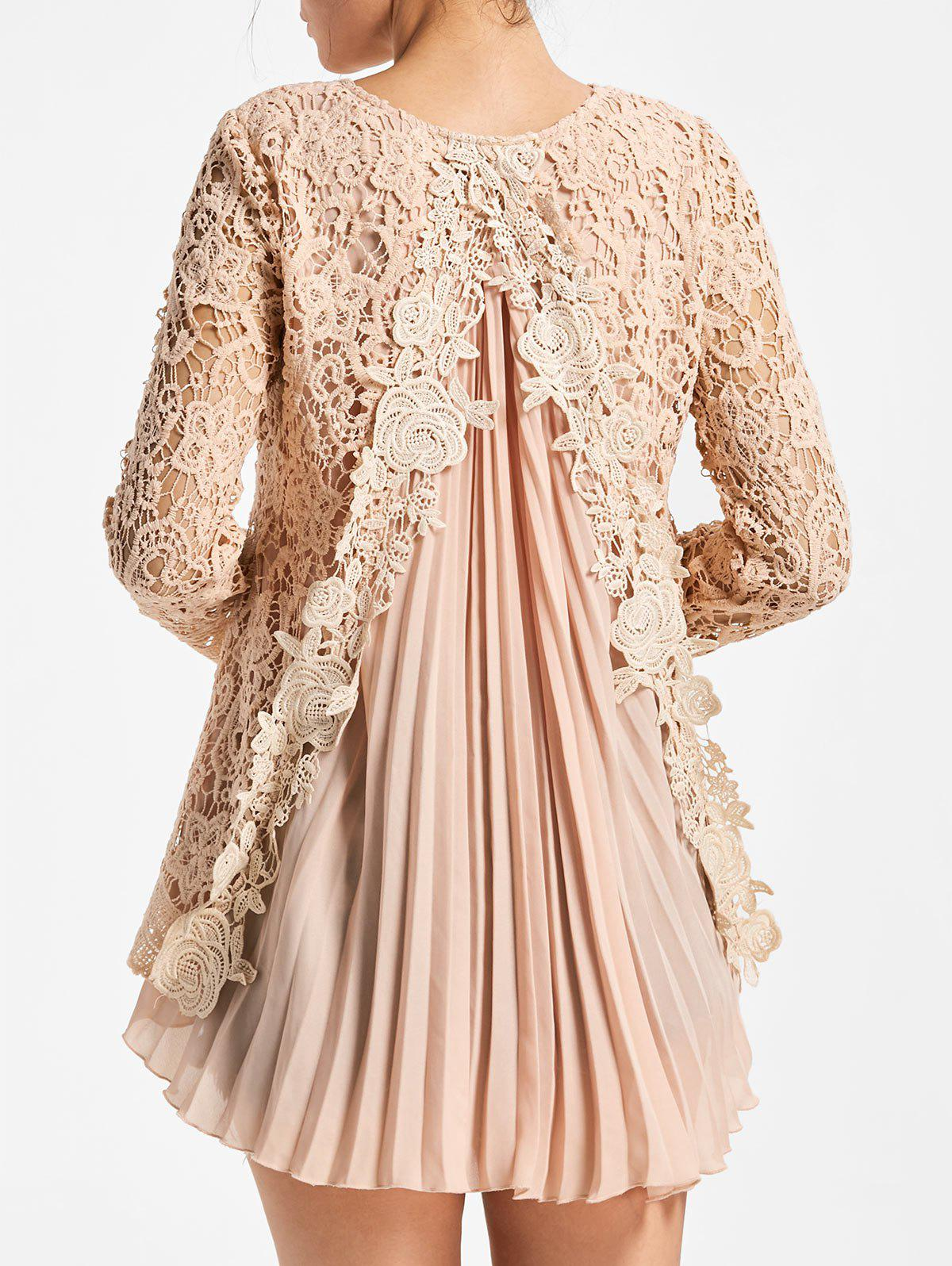 Unique High Low Pleated Lace Blouse