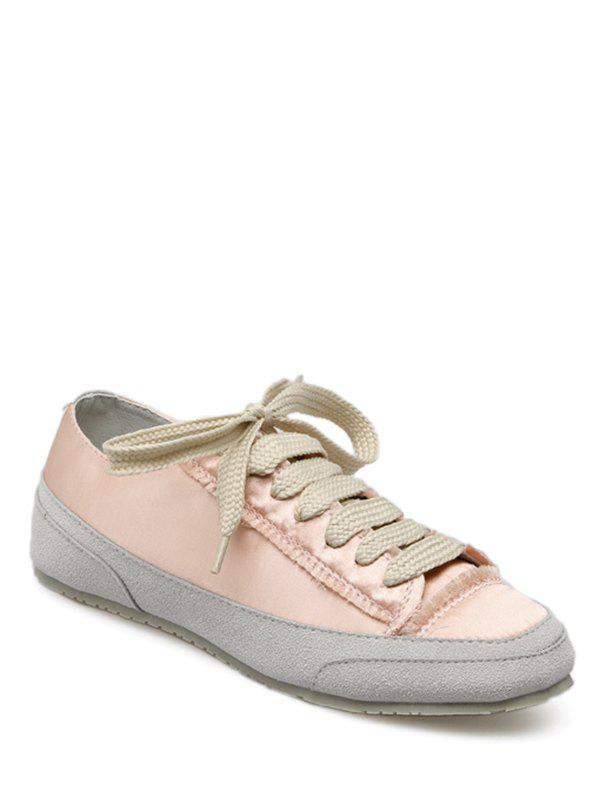 Cheap Casual Suede Insert Satin Sneakers