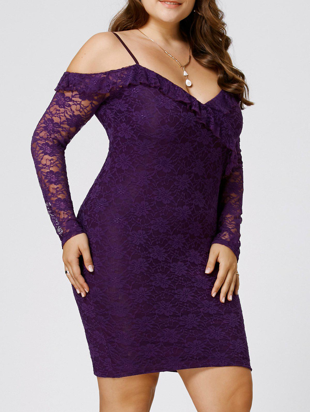 Plus Size Dew Shoulder Lace Bodycon DressWOMEN<br><br>Size: 2XL; Color: PURPLE; Style: Brief; Material: Polyester; Silhouette: Bodycon; Dresses Length: Knee-Length; Neckline: Spaghetti Strap; Sleeve Length: Long Sleeves; Embellishment: Lace; Pattern Type: Floral; With Belt: No; Season: Fall,Spring,Summer; Weight: 0.3500kg; Package Contents: 1 x Dress;