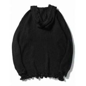 Drawstring Hooded Ripped Knitted Sweater - BLACK M