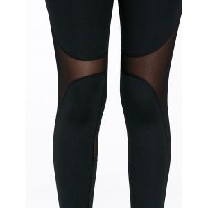 Sheer Mesh Insert Workout Leggings with Stirrup -
