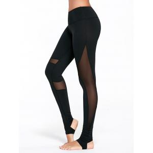Sheer Mesh Insert Workout Leggings with Stirrup - Black - L