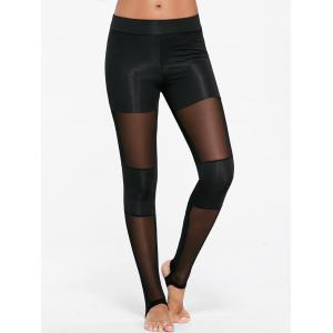 Sports Sheer Mesh Insert Stirrup Leggings - Black - Xl