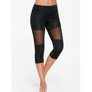 Capri Mesh Insert Workout Leggings - Black - Xl