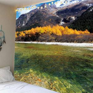 Clouds Mountains Forest River Waterproof Hanging Tapestry