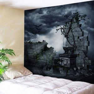 Halloween Gruesome Night Print Wall Tapestry - Black Grey - W91 Inch * L71 Inch