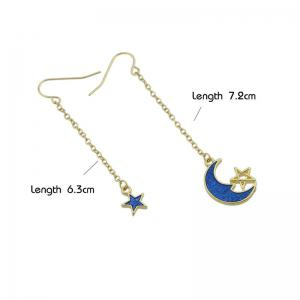Star Moon Pendant Fish Hook Earrings - BLUE