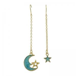 Star Moon Pendant Fish Hook Earrings