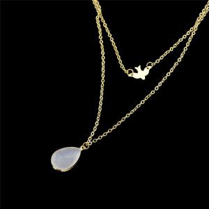 Teardrop Pendant Layered Necklace - GOLDEN