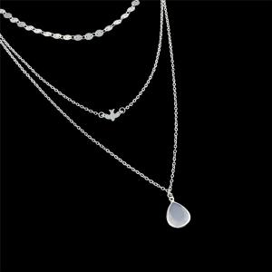 Teardrop Pendant Layered Necklace - SILVER