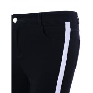 Two Tone Four Pockets Fitted Pants - BLACK M