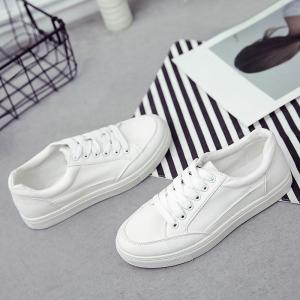 Casual Eyelet Stitching Canvas Shoes - WHITE 38