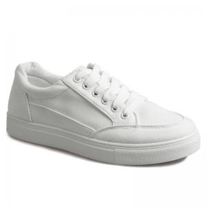 Casual Eyelet Stitching Canvas Shoes - White - 39