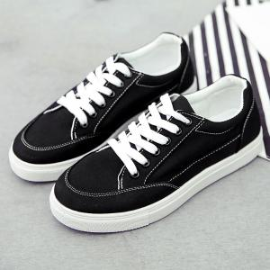 Casual Eyelet Stitching Canvas Shoes - BLACK 37
