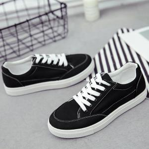 Casual Eyelet Stitching Canvas Shoes - Noir 38