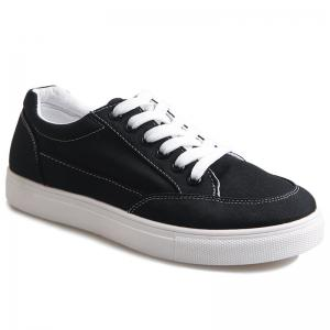Casual Eyelet Stitching Canvas Shoes - Black - 38