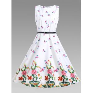 A Line Sleeveless Floral Vintage Dress