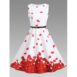 Printed Vintage A Line Dress - Red With White - M