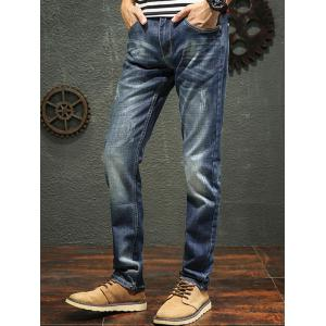 Zip Fly Straight Leg Faded Jeans - Denim Bleu 32