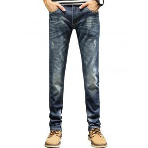 Zip Fly Straight Leg Faded Jeans