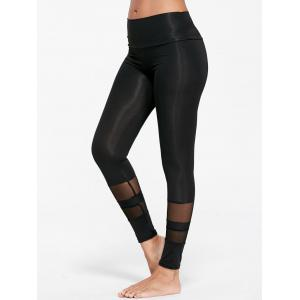 See Through  Mesh Insert Sports Tights - Black - S