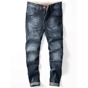 Zip Fly Cuffed Tapered Jeans