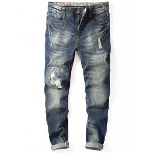 Distressed Tapered Fit Cuffed Jeans