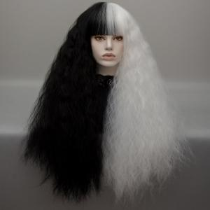 Long Neat Bang Two Tone Shaggy Curly Wave Lolita Cosplay Wig - Black + White