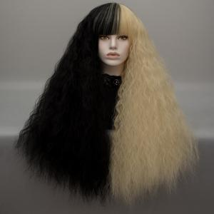 Long Neat Bang Two Tone Shaggy Curly Wave Lolita Cosplay Wig - Black And Golden