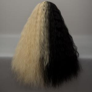 Long Neat Bang Two Tone Shaggy perruque de cosplay Lolita Wave - Noir et Or
