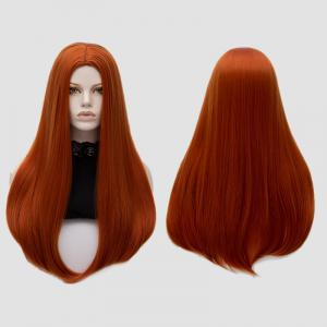 Long Middle Part Tail Adduction Straight Cosplay Anime Wig - Pearl Kumquat - 5xl