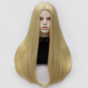 Longue partie moyenne Partie Adduction Straight Cosplay Anime Wig - Or Clair