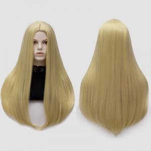 Long Middle Part Tail Adduction Straight Cosplay Anime Wig - Light Gold