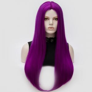 Longue partie moyenne Partie Adduction Straight Cosplay Anime Wig - Pourpre Clair