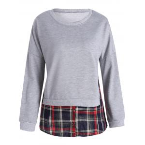 Plaid Insert Crew Neck Plus Size T-shirt
