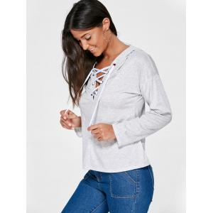 Drop Shoulder Heather Lace Up Hoodie - LIGHT GRAY M